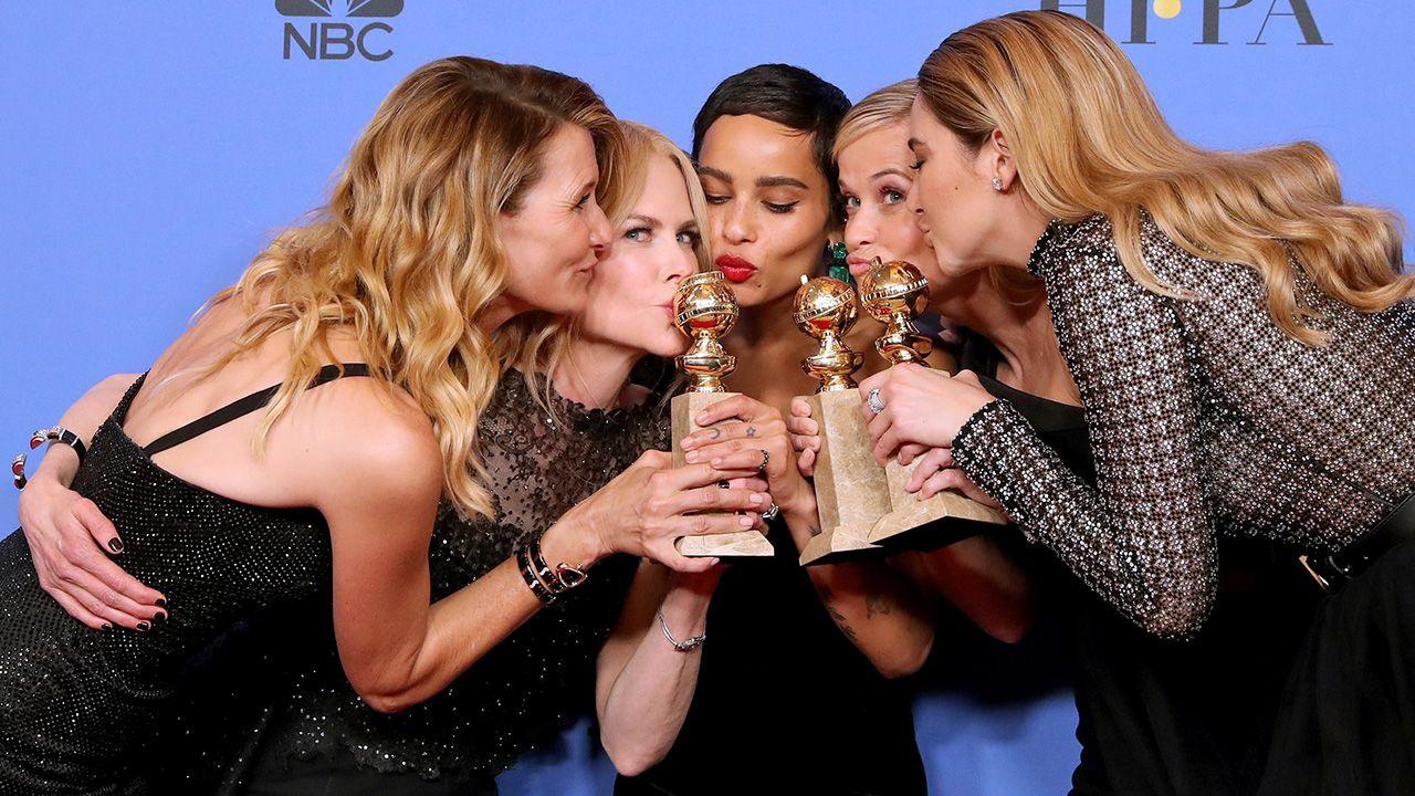 """Aktorki nagrodzonych """"Wielkich kłamstewek"""": Laura Dern, Nicole Kidman, Zoe Kravitz, Reese Witherspoon i Shailene Woodley (fot. EPA/PAP)"""