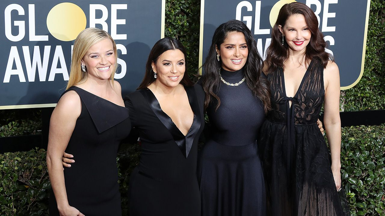 Aktorki Reese Witherspoon, Eva Longoria, Salma Hayek i  Ashley Judd (fot. EPA/PAP)