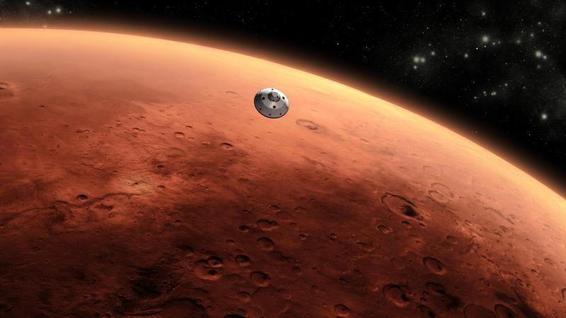 Wizualizacja Ridera Curiosity zbliżającego się do powierzchni Marsa (fot. REUTERS/ NASA/JPL-Caltech/Handout)