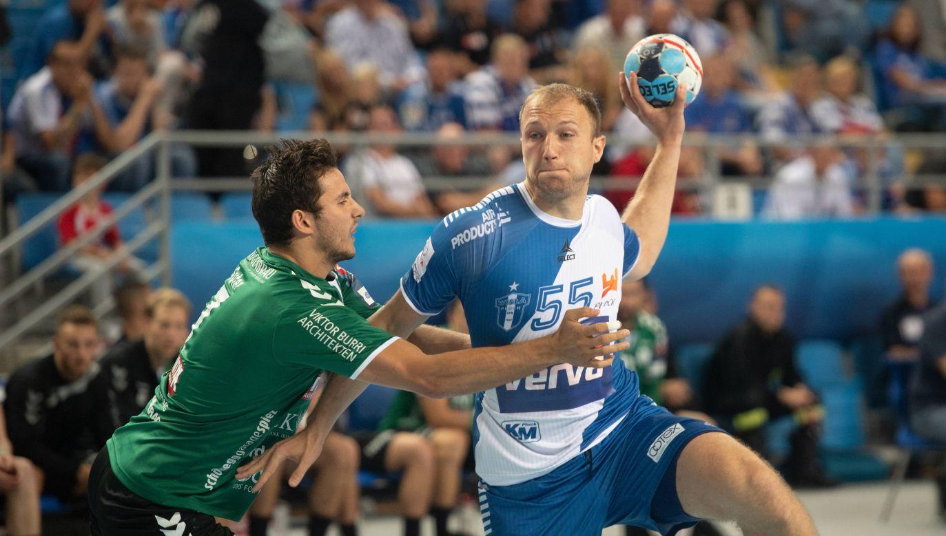 Ziga Mlakar (R) scored eight goals for Wisła Płock - team's best - in Sunday game against Thun. Photo:PAP/Grzegorz Michałowski