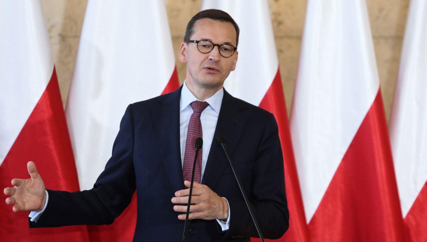 Premier Mateusz Morawiecki podczas konferencji prasowej pt.