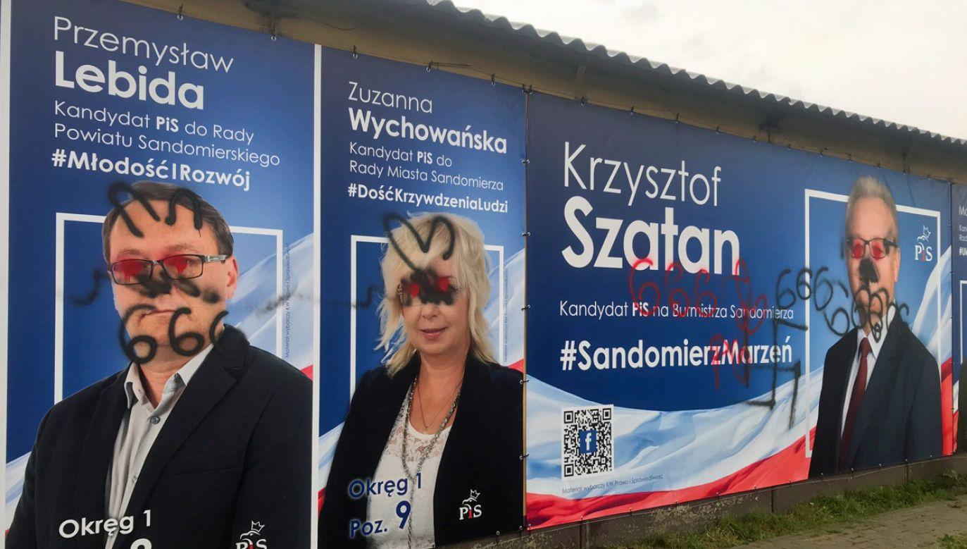 Do zniszczenia wyborczych banerów kandydatów PiS przy ul. Lwowskiej doszło w nocy (fot. Zuzanna Wychowańska)