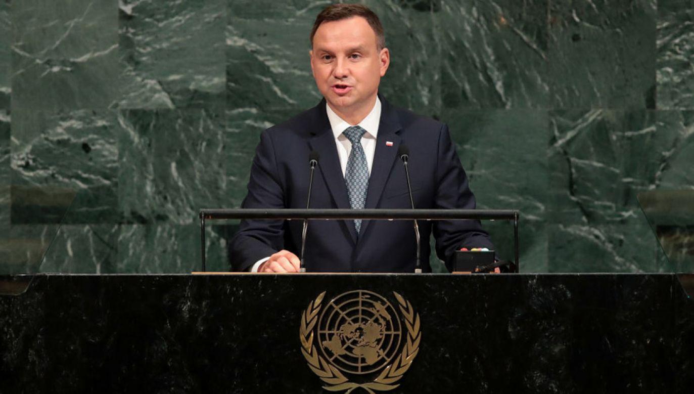 Prezydent Andrzej Duda przemawiał już na forum ONZ (fot. Drew Angerer/Getty Images)