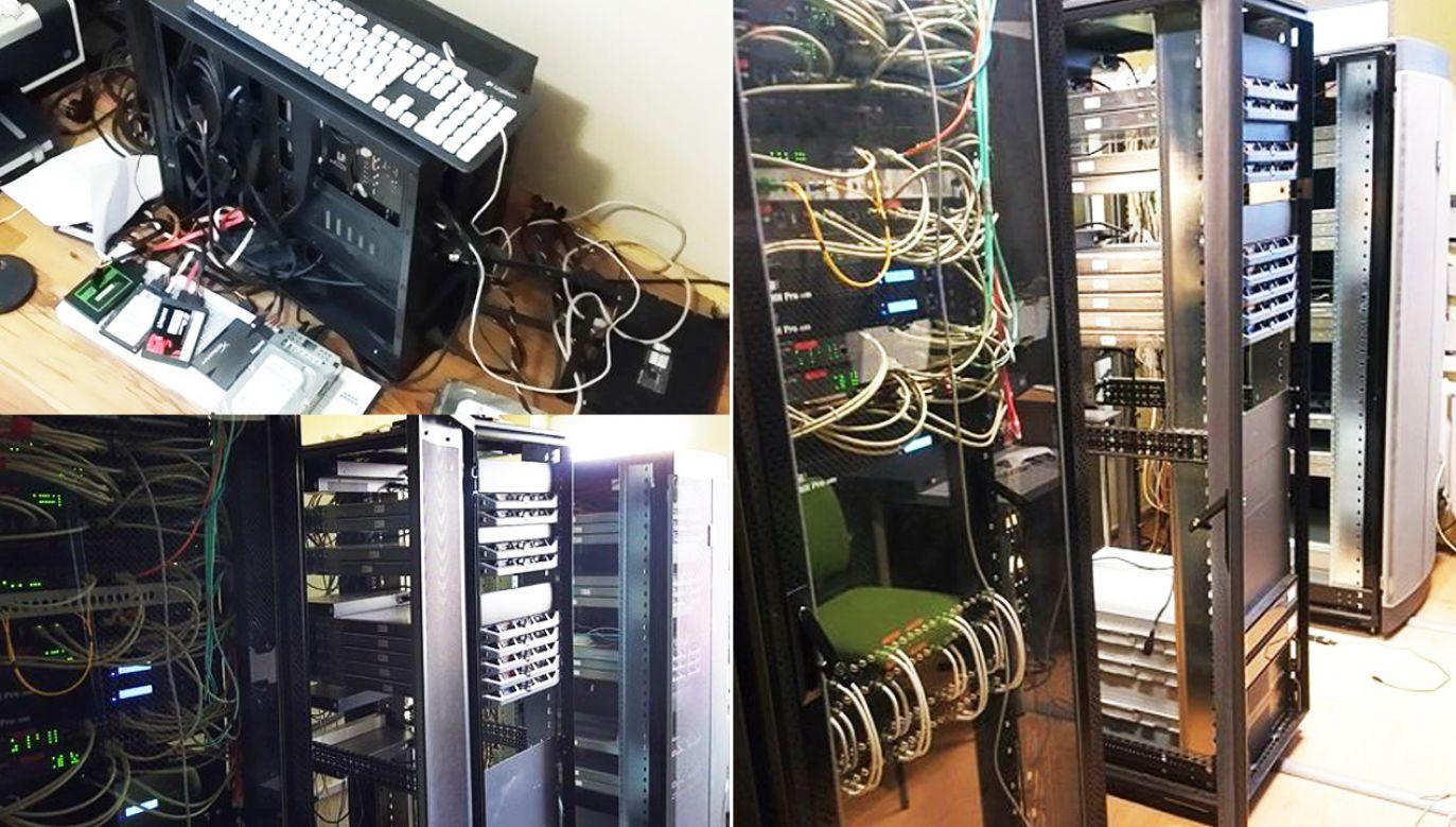 Policjanci zabezpieczyli serwery i komputery (fot. Policja)