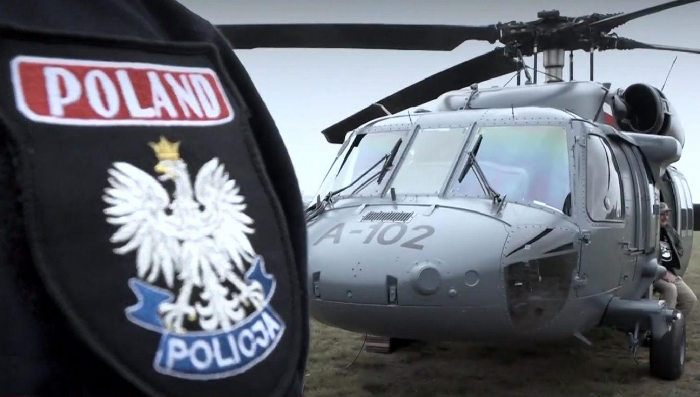 Publicznie policyjny Black Hawk zostanie zaprezemtowany podczas defilady 3 maja (fot. TVP info)