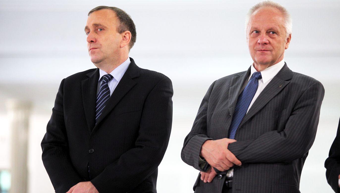 Grzegorz Schetyna i Stefan Niesiołowski (fot. arch.PAP/Tomasz Gzell)