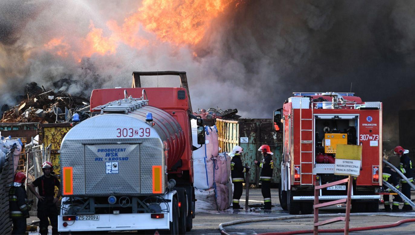 Z ogniem walczyło około 40 jednostek straży pożarnej (fot. PAP/Marcin Bielecki)