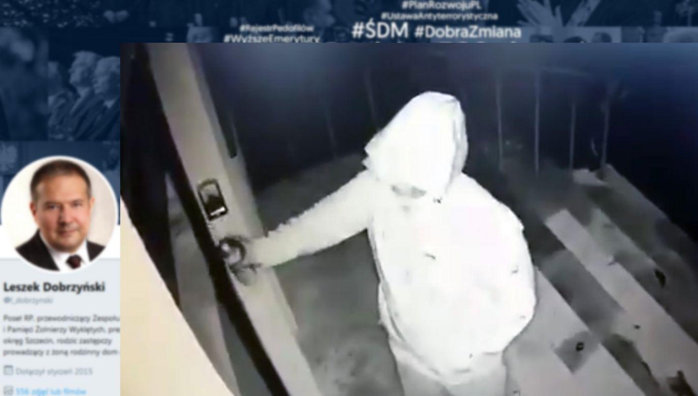 Kamera zarejestrowała, jak ktoś niszczy sprayem drzwi do siedziby PiS  (fot. tt/Leszek Dobrzyński)