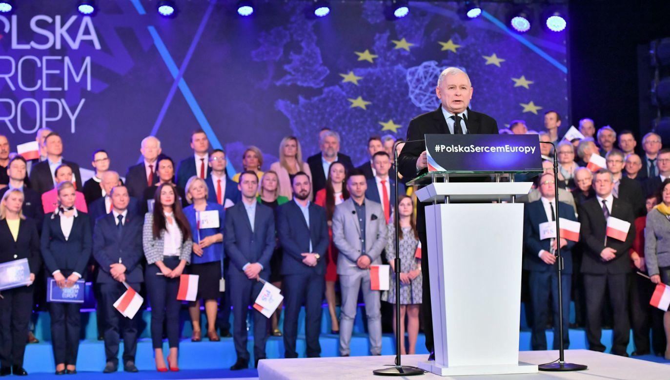Jarosław Kaczyński na konwencji PiS we Wrocławiu (fot. PAP/Maciej Kulczyński)