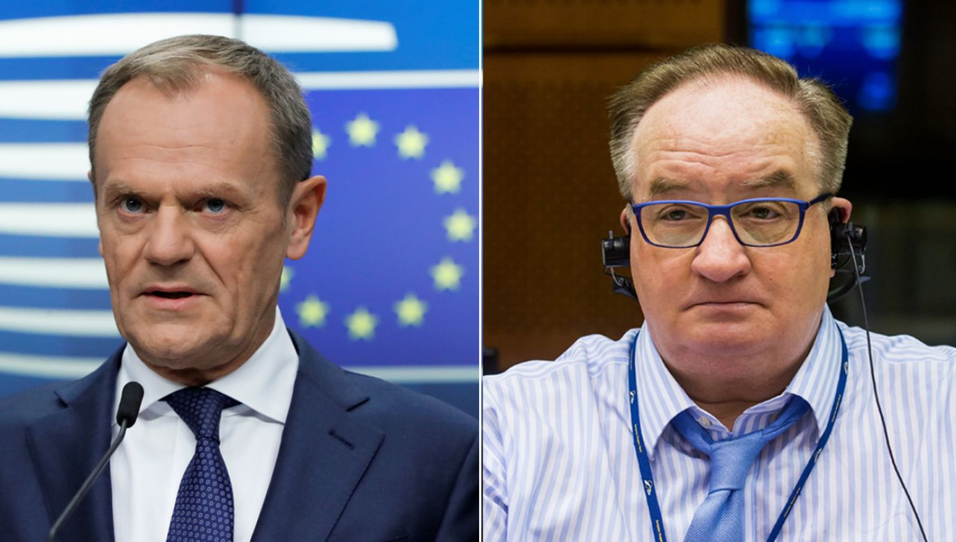 Donald Tusk i Jacek Saryusz-Wolski (fot. REUTERS/Yves Herman/PAP/EPA/STEPHANIE LECOCQ)