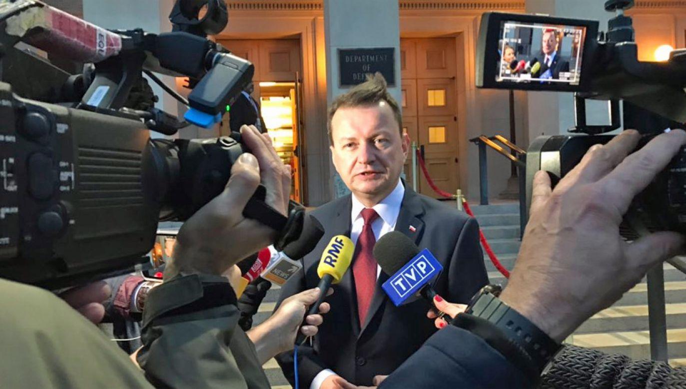Szef MON Mariusz Błaszczak po spotkaniu w Departamencie Obrony USA (fot. TT/MON)