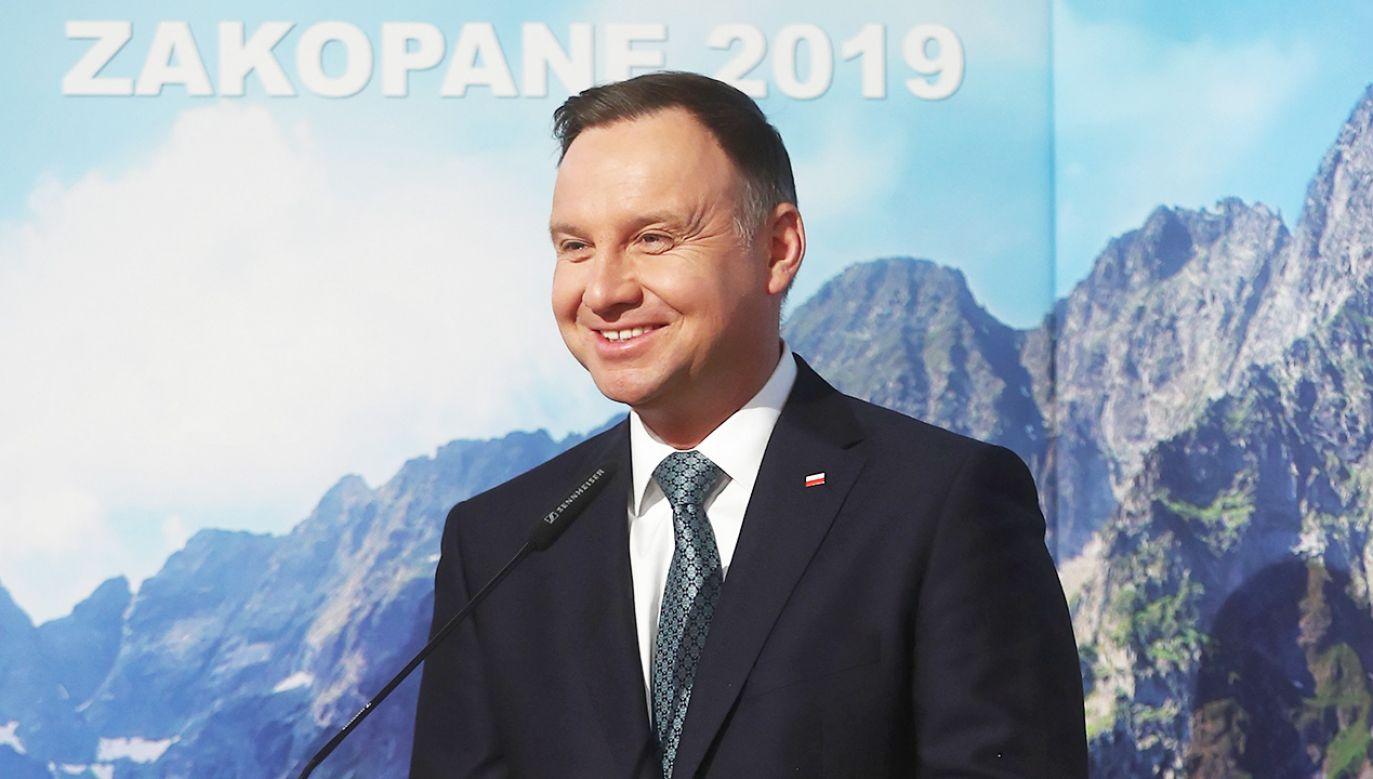 Prezydent Duda wziął udział w XI Międzynarodowym Forum Górskim w Zakopanem (fot. PAP/Łukasz Gągulski)