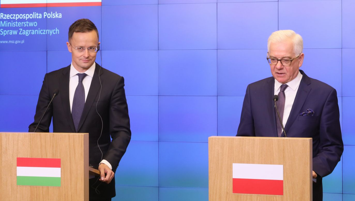 Polish FM Jacek Czaputowicz (R) and his Hungarian counterpart Péter Szijjártó (L) in May 2018. Photo: PAP/Paweł Supernak