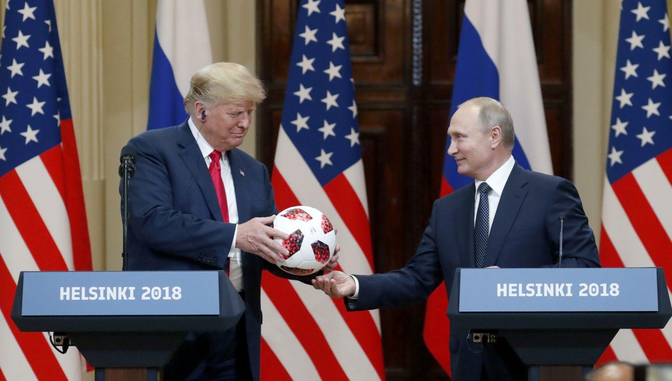 US President Donald Trump (L) and Russian President Vladimir Putin (R) during Helsinki summit. Photo: PAP/EPA/ANATOLY MALTSEV