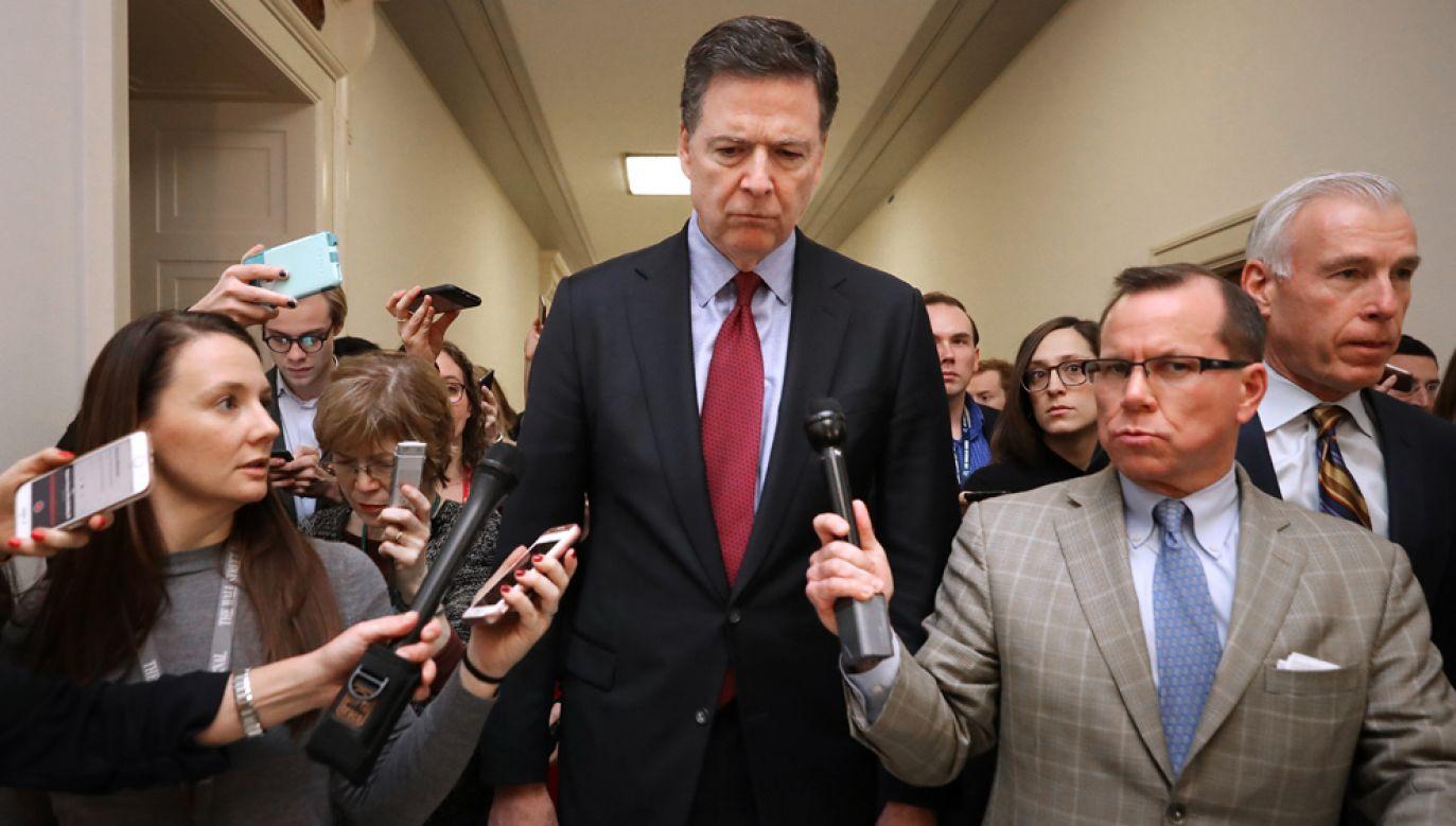 Były szef FBI James Comey w piątek odpowiadał na pytania na zamkniętym posiedzeniu połączonych komisji prawnej i nadzoru Izby Reprezentantów (fot. Chip Somodevilla/Getty Images)
