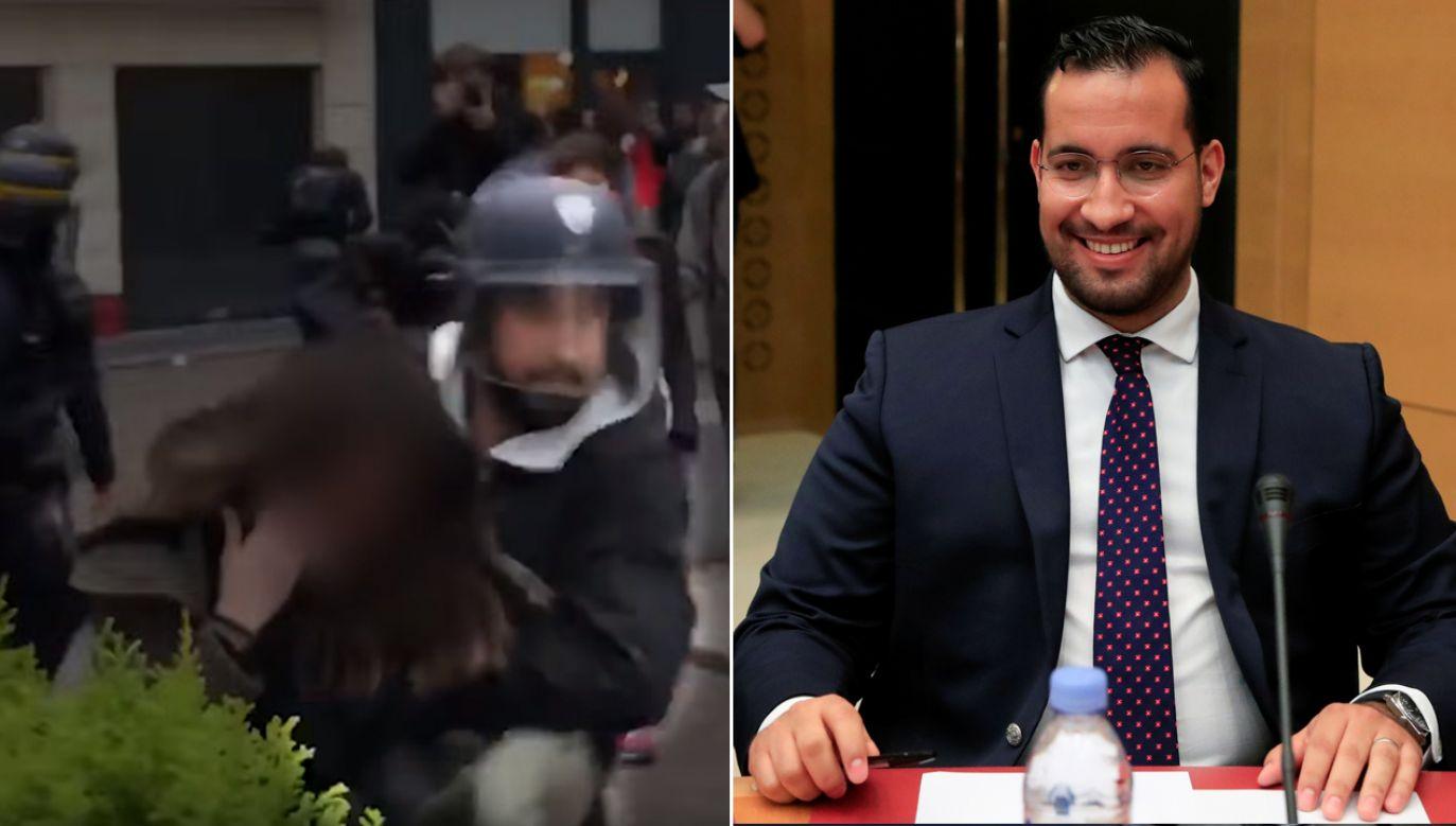 W lipcu ub.r. opublikowano wideo z demonstracji 1 maja, na którym widać było, jak mężczyzna w hełmie policyjnym wyciąga z tłumu i szarpie młodą kobietę, a następnie bije leżącego mężczyznę. Sprawcę zidentyfikowano jako Benallę (fot. YT/Guardian News/REUTERS/Gonzalo Fuentes)