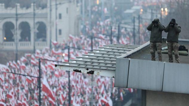 Rzecznik ministra koordynatora służb specjalnych o marszu 11 listopada w stolicy i jego odbiorze w zagranicznych mediach (fot. PAP/Paweł Supernak)