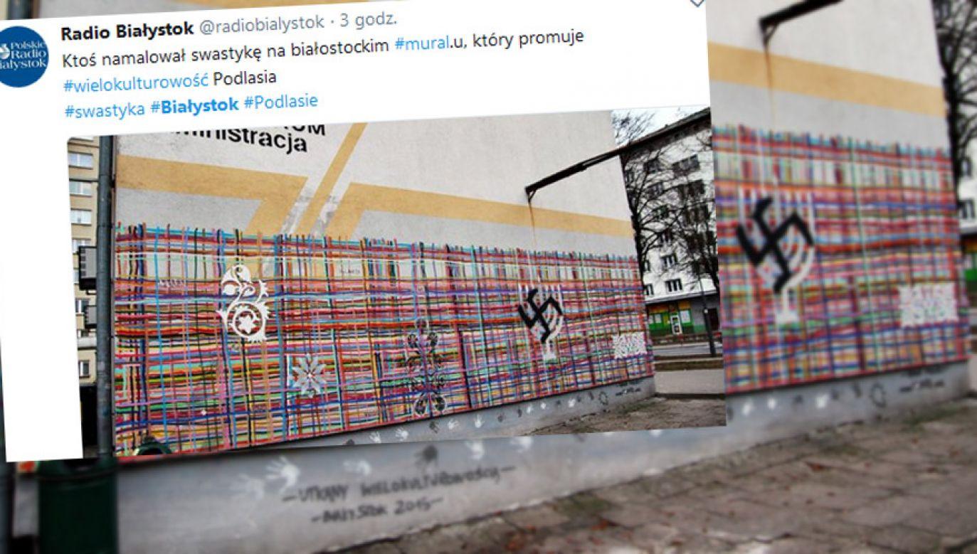 Zamazano wizerunek menory (fot. tt?Radio Białystok)