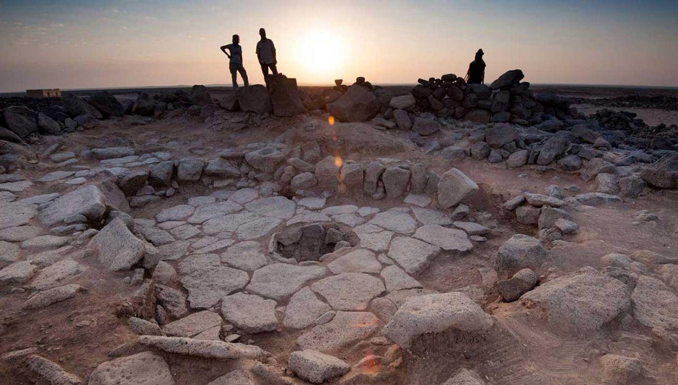 Zdjęcie udostępnione przez Uniwersytet w Kopenhadze pokazuje kamienną konstrukcję z kominkiem, w której znaleziono chleb, Shubayqa, Jordania (fot. ALEXIS PANTOS / UNIVERSITY OF COPENHAGEN HANDOUT)
