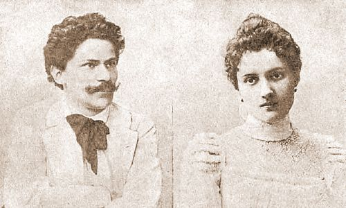 """Jan Szczepanik i Wanda Dzikowska, zdjęcia publ;ikowane w  ilustrowanym dodatku bezpłatnym do """"Głosu Narodu"""", nr 1 z 21 września 1901 (http://jbc.bj.uj.edu.pl/publication/411709). Fot. Wikimedia Commons/autor nieznany, domena publiczna"""