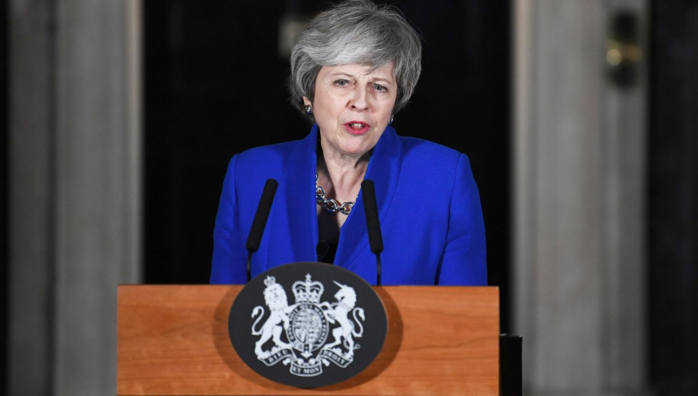 Theresa May podczas wystąpienia na Downing Street (fot. PAP/EPA/NEIL HALL)