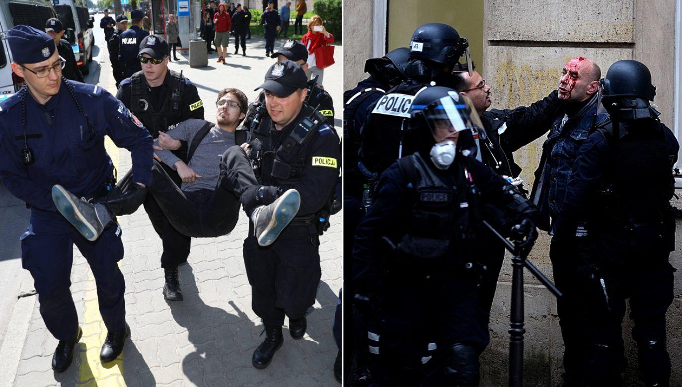 Patrząc na filmy i zdjęcia dostępne w internecie trudno nie odnieść wrażenia, że polskiej policji bardzo daleko jest do brutalnych zachowań francuskich funkcjonariuszy (fot. arch. PAP/Rafał Guz/Juan Carlos Lucas/NurPhoto via Getty Images)