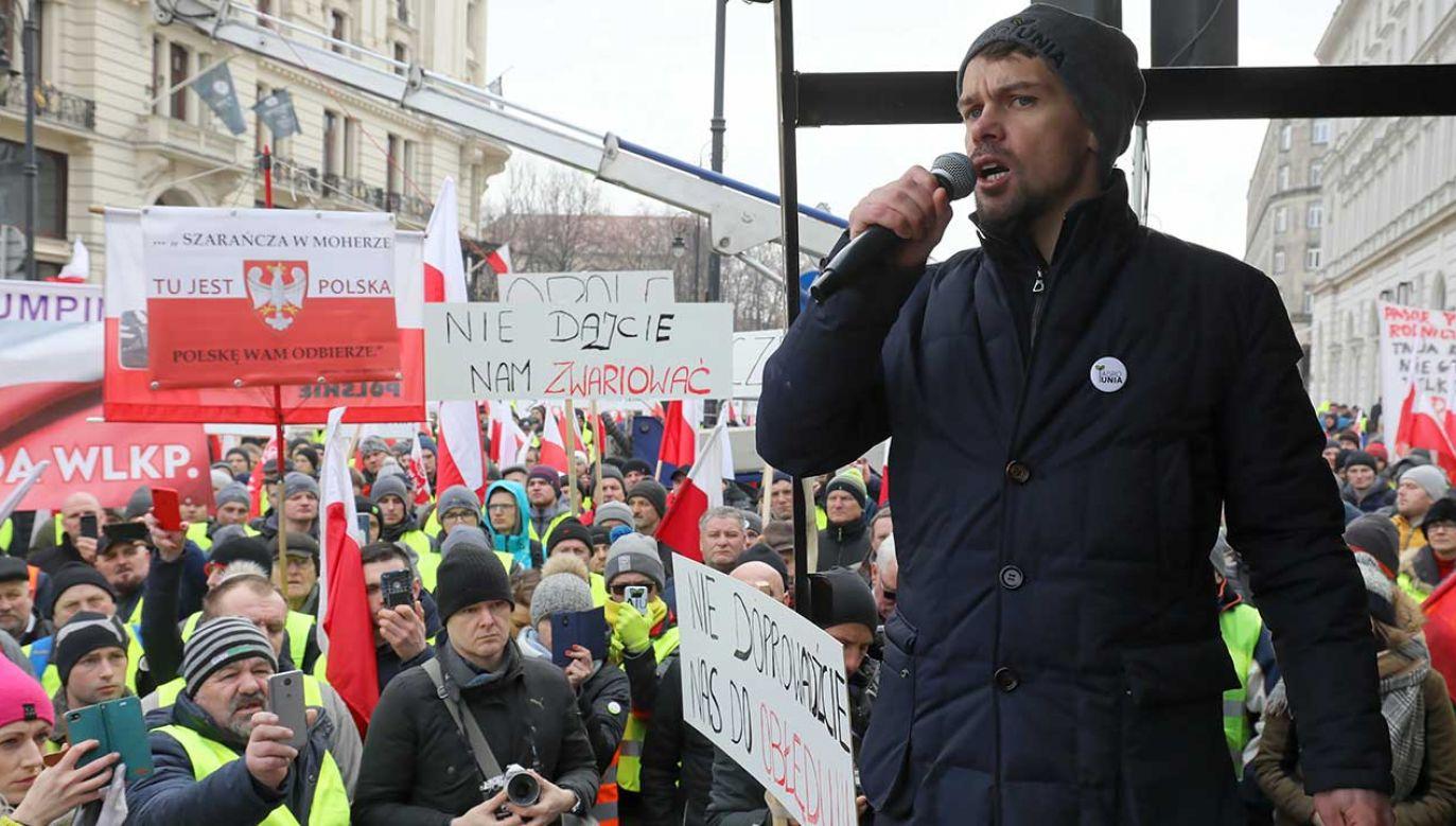 Lider ruchu AgroUnia Michał Kołodziejczak (fot. arch. PAP/Paweł Supernak)