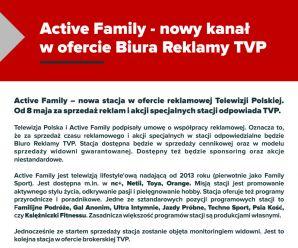 ACTIVE  FAMILY - NOWY KANAŁ W OFERCIE BIURA REKLAMY TVP