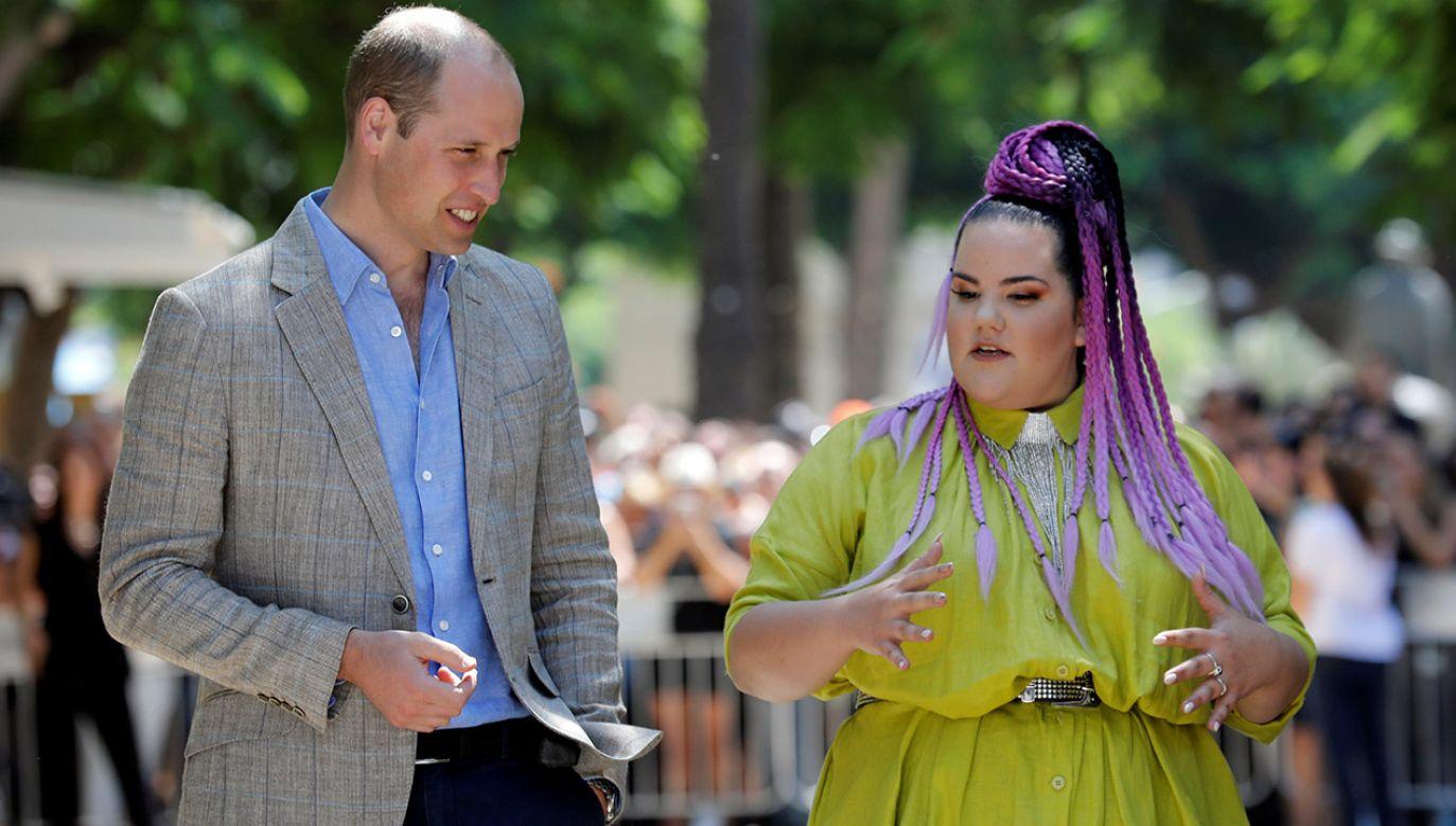 Książę William i Netta Barzilai, zwyciężczyni konkursu Eurowizji 2018, w Tel awiwie  (fot. Reuters/Amir Cohen/Pool)