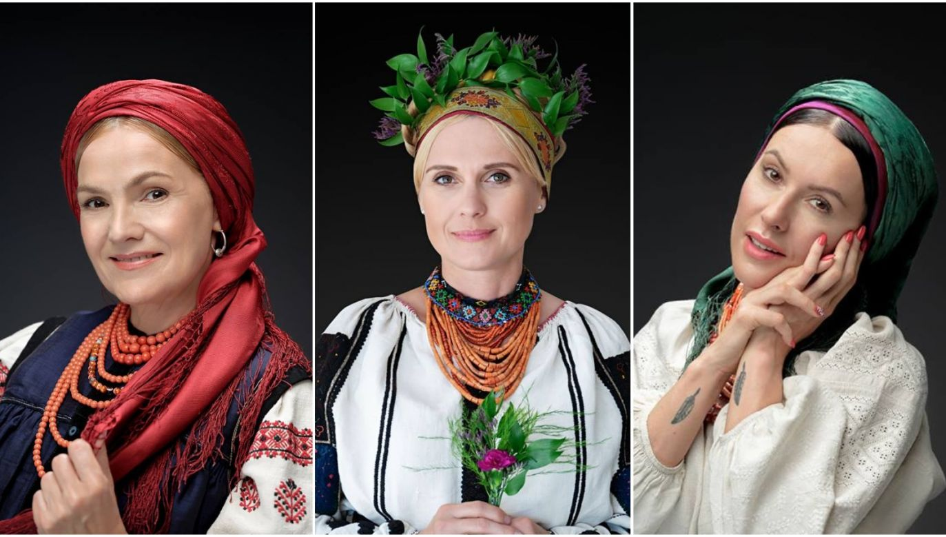 Artists Maria Stepan (L),  Aleksandra Woźniak (C) and Aleksandra Kutz (R) donning Ukrainian clothes. Photo: Facebook/@PieknoJednosci