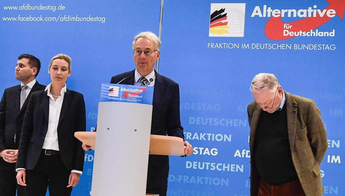 Liderzy Alternatywy dla Niemiec w trakcie konferencji prasowej 15 stycznia br. (fot. PAP/EPA/FILIP SINGER)
