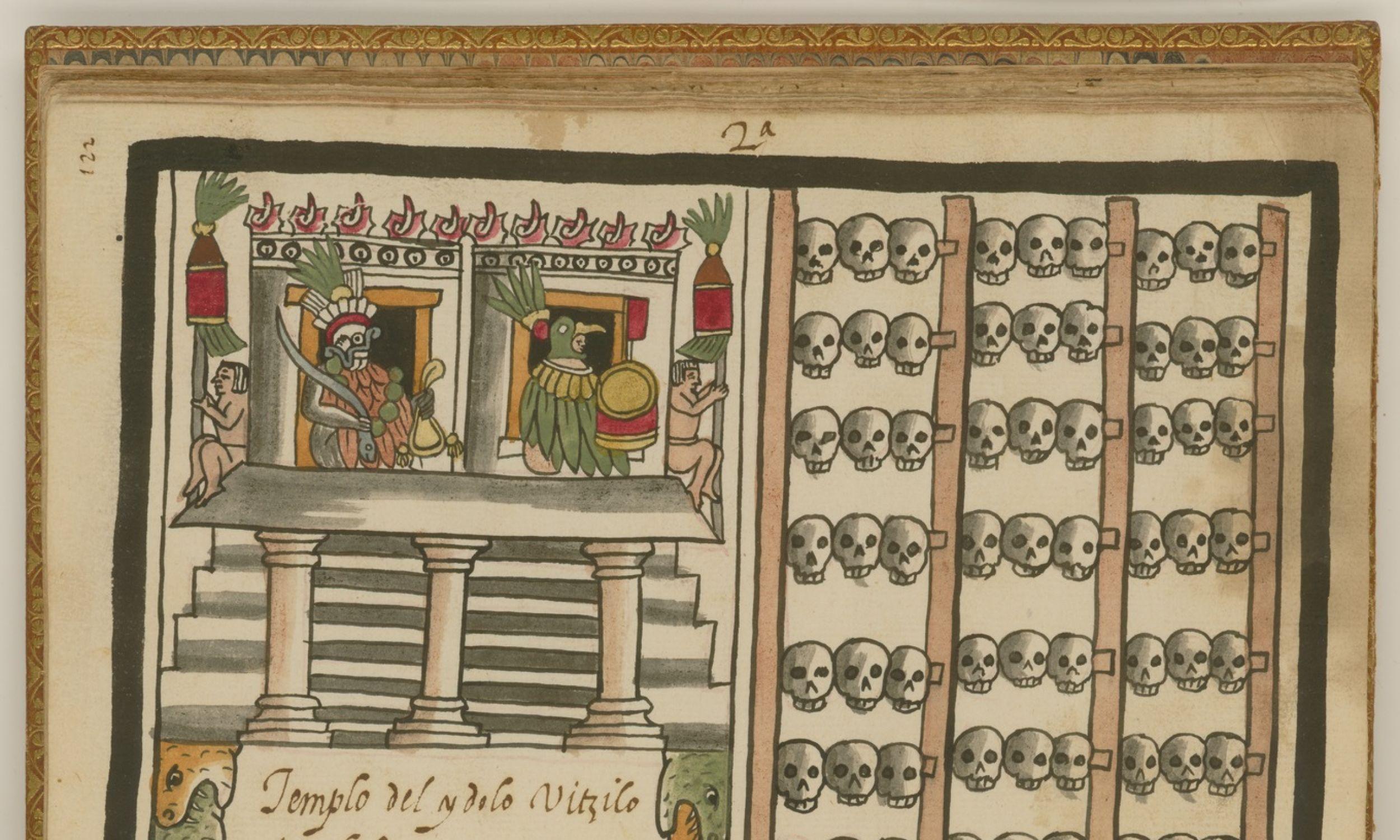 Kodeks Tovar XVI-wiecznego jezuity Juana de Tovar zawiera szczegółowe informacje o obrzędach Azteków (znanych również jako Mexica). Ta ilustracja pokazuje (po lewej) świątynię zwieńczoną wizerunkami dwóch bogów: po prawej stronie jest obraz Huitzilopochtli (bóg słońca i wojny), a po lewej Tlaloca (deszczu i rolnictwa) z turkusowym wężem (broń bogów). Po prawej stronie znajduje się tzompantli, czyli stojak na czaszki. Fot. Wikimedia/zbiory Biblioteki Johna Cartera Browna w Meksyku