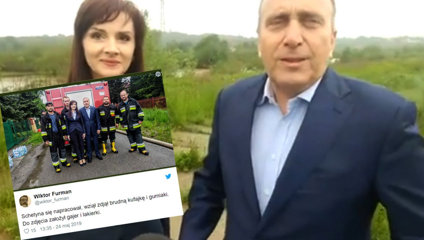 """Jeszcze wczoraj działania rządzących w sprawie powodzi Grzegorz Schetyna nazywał """"politycznym kabaretem"""" (fot. TVP Info/tt/@wiktor_furman)"""