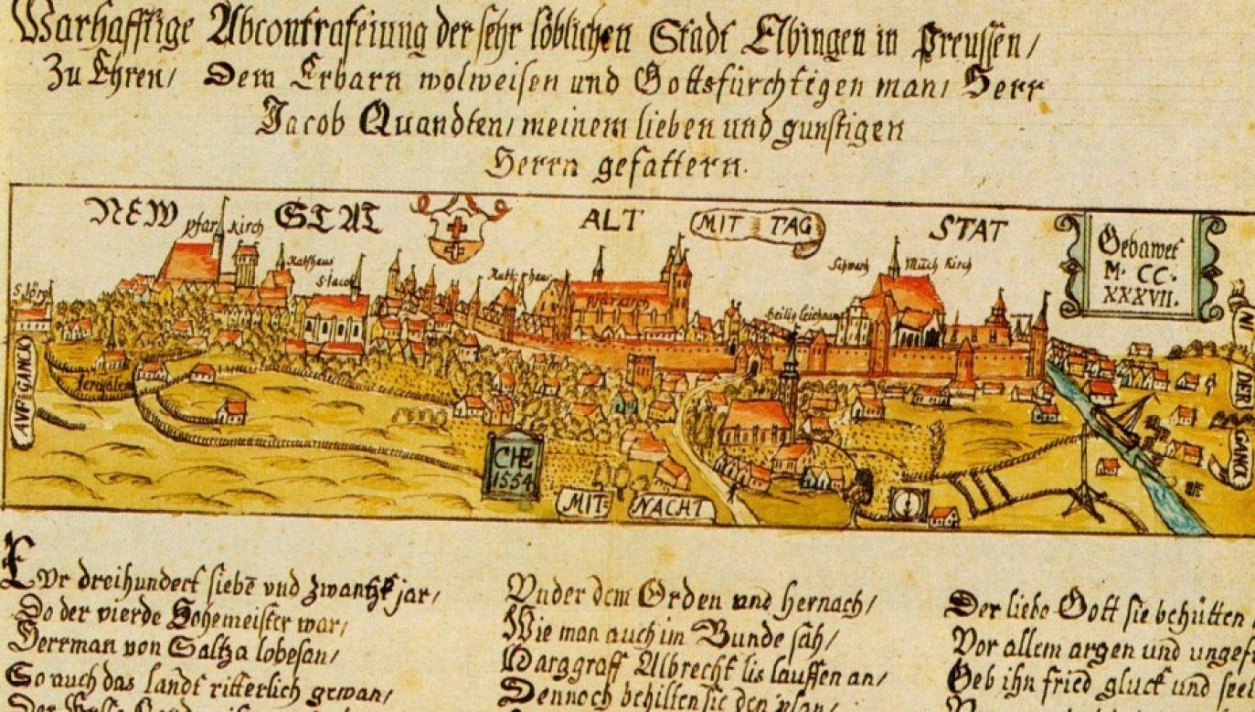 Panorama Elbląga z 1554 r. Fot. Wikimedia