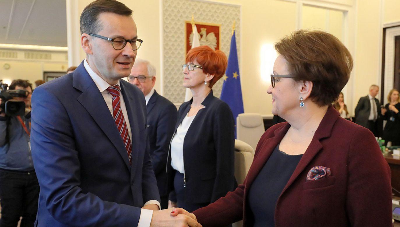 """Minister jest przekonana, że """"nie ma żadnego chaosu w edukacji"""" (fot. PAP/Paweł Supernak)"""