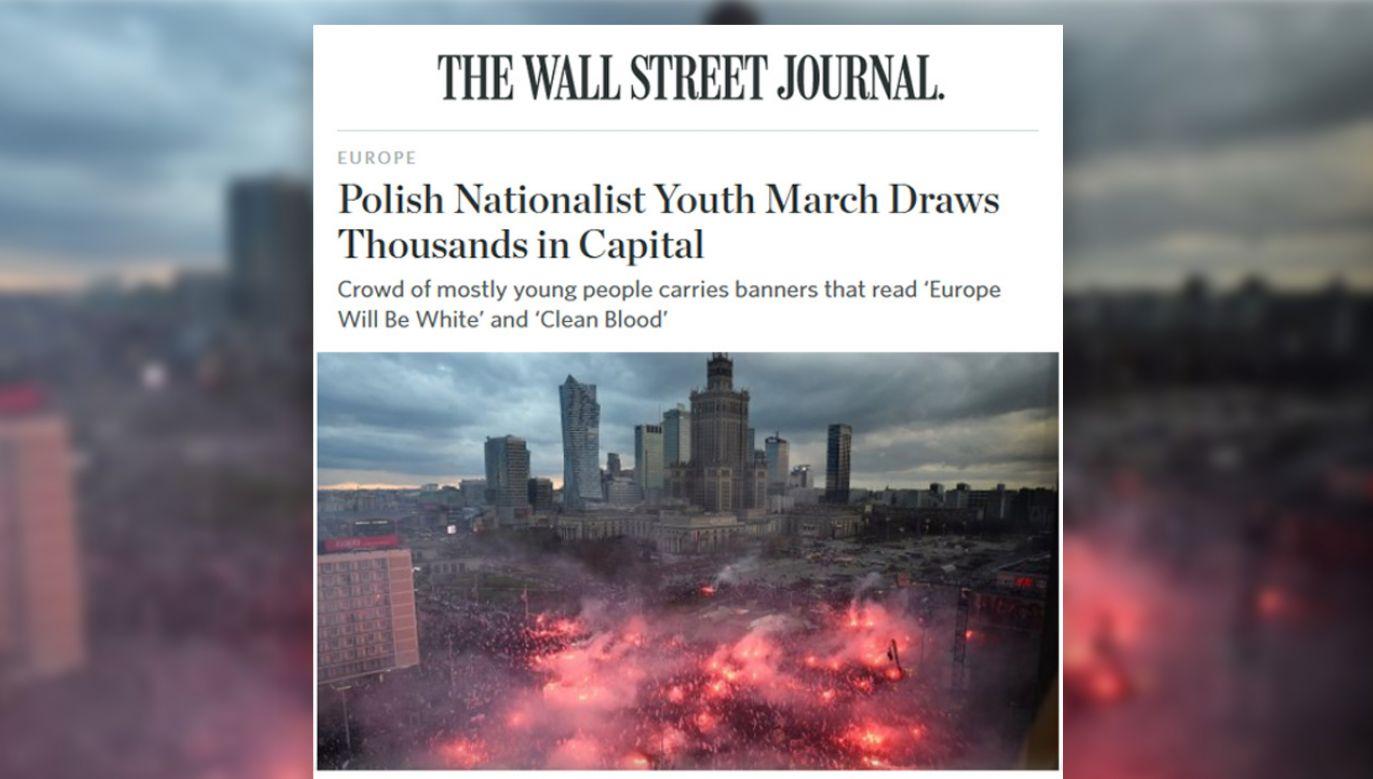 """Artykuł """"Wall Street Journal"""" dotyczący Marszu Niepodległości (fot. wsj.com)"""