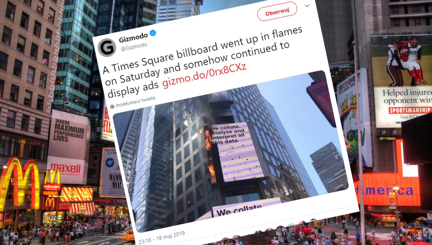 Billboard przykrywał cztery piętra (fot. Wikimedia Commons/Twitter @Gizmodo)