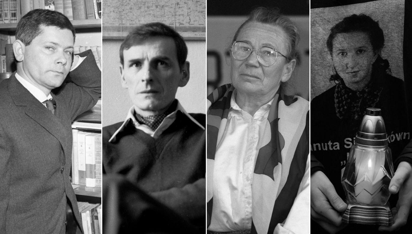 """Zbigniew Herbert, Zbigniew Romaszewski, Anna Walentynowicz, Danuta Siedzikówna """"Inka"""" (fot. arch. PAP/Cezary Langda/Tomasz Michalak/Janusz Mazur/Adam Warżawa)"""