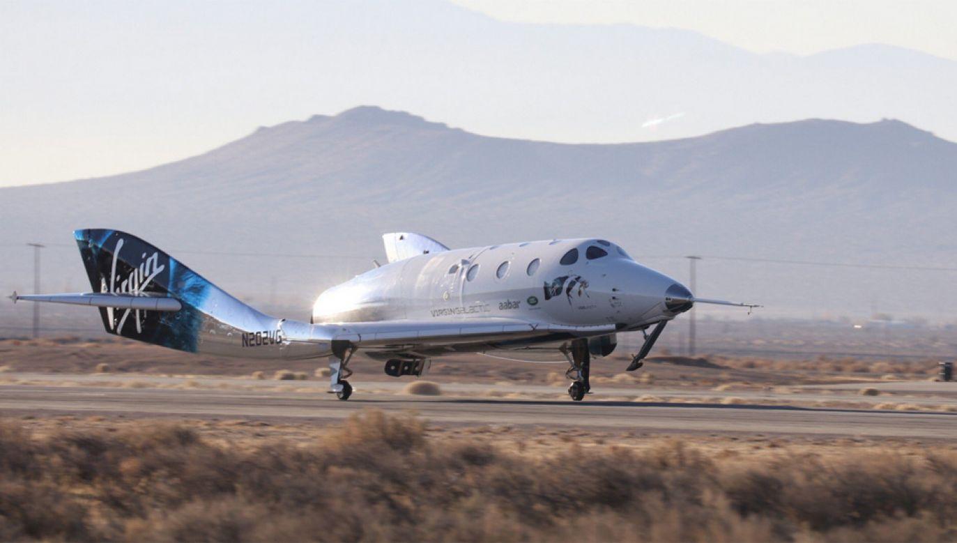 """Statek Virgin Space Unity zabrał manekina imieniem Annie jako """"pasażerkę"""" (fot. TT/Virgin Galactic)"""