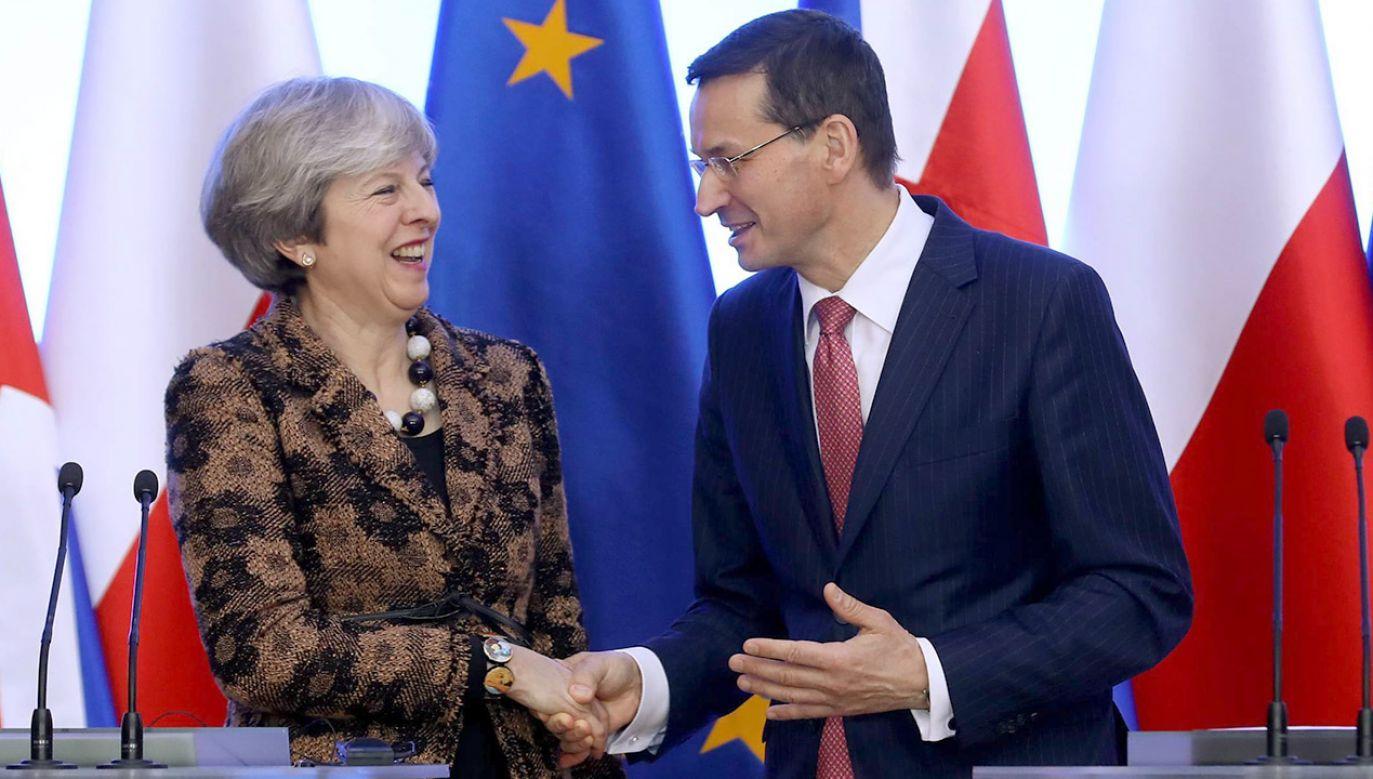 Premier Wielkiej Brytanii Theresa May i premier Polski Mateusz Morawiecki (fot. arch.PAP/Rafał Guz)