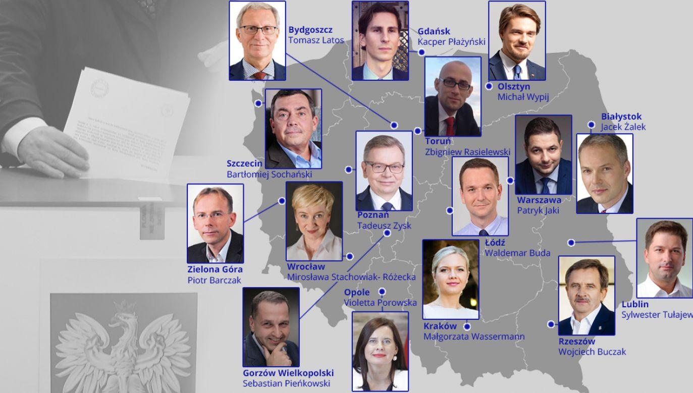 Kandydaci PiS na prezydentów miast (infografika portal TVP.info)