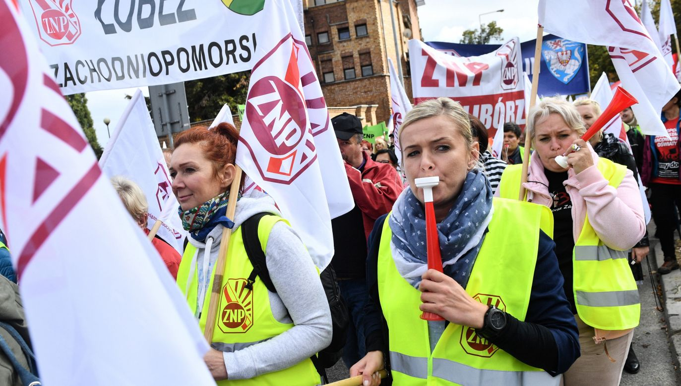 Ogólnopolska manifestacja Związku Nauczycielstwa Polskiego odbyła się w Warszawie (fot. PAP/Jacek Turczyk)