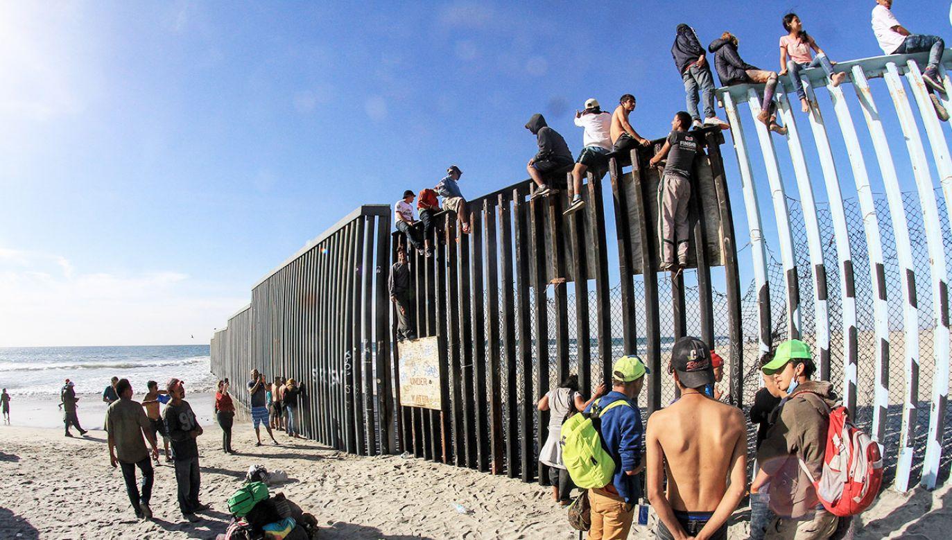 Pierwsza grupa dotarła autokarami do miasta Tijuana (fot. PAP/EPA/JOEBETH TERRIQUEZ)