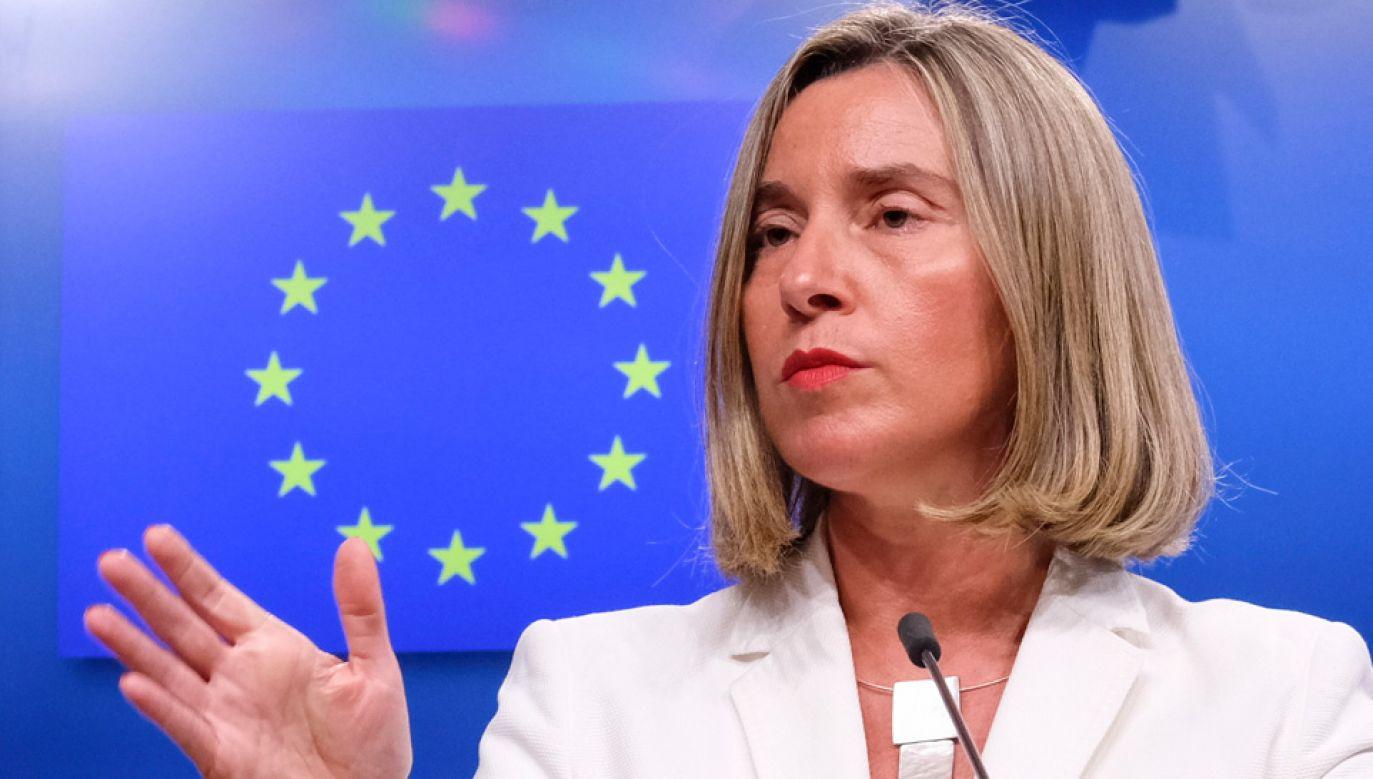 Federica Mogherini broni porozumienia z Iranem (fot. PAP/EPA/OLIVIER HOSLET)