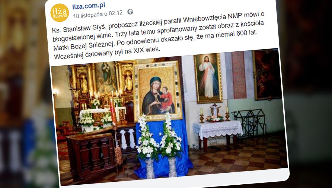 Sprofanowany przed trzema laty obraz z kościoła Matki Bożej Śnieżnej w Iłży okazał się cenną ikoną (fot. FB/Ilza.com.pl)