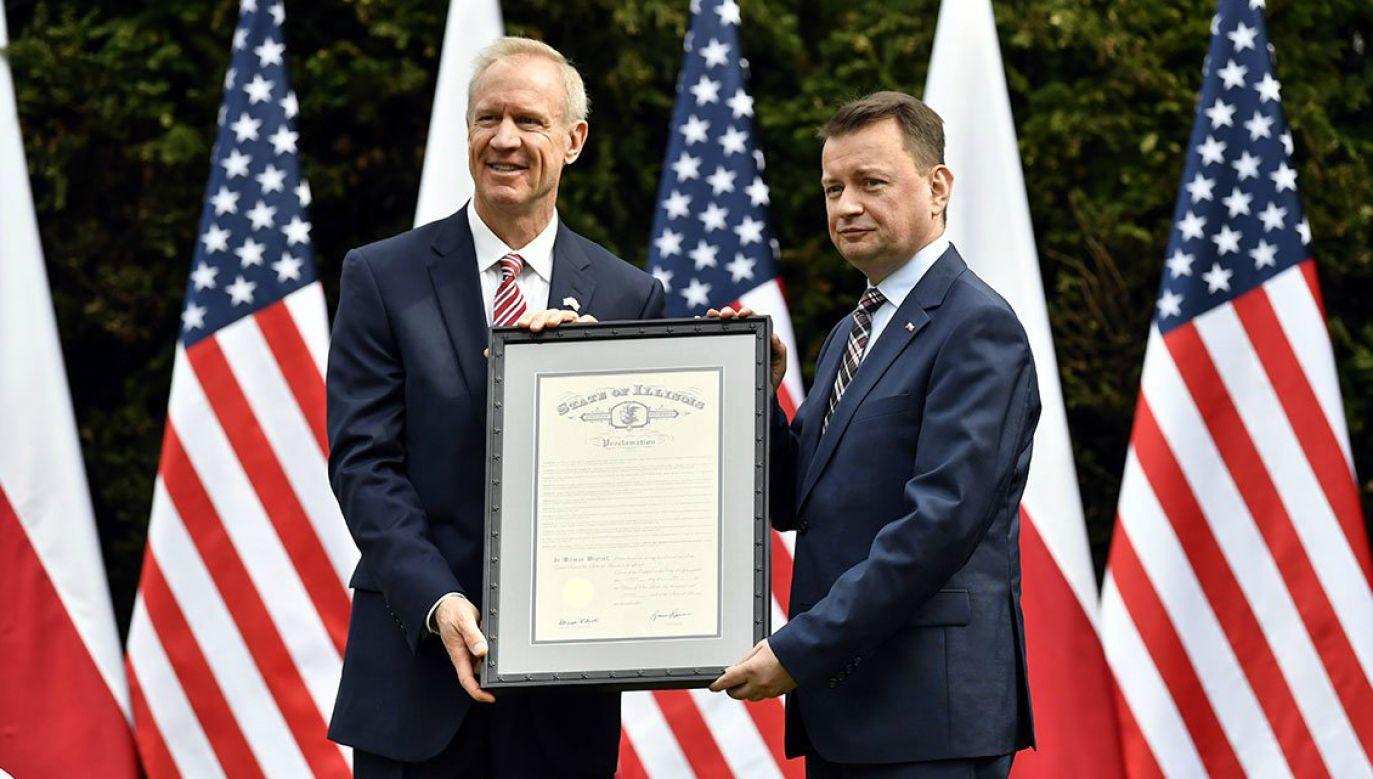 Illinois Governor Bruce Rauner and Polish Defence Minister Mariusz Blaszczak. Photo: Twitter.com/MON_GOV_PL