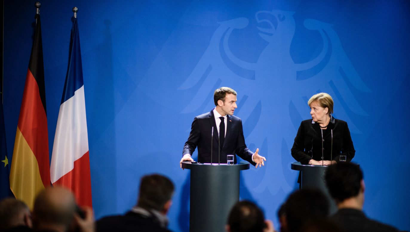 Prezydent Francji Emmanuel Macron i kanclerz Niemiec Angela Mercel (fot. PAP/EPA/CLEMENS BILAN)