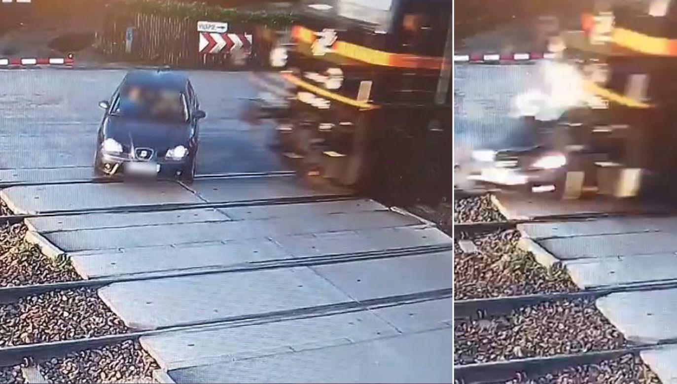 Kierowca minął szlaban i wjechał pod pociąg (fot. czestochowa.slaska.policja.gov.pl)