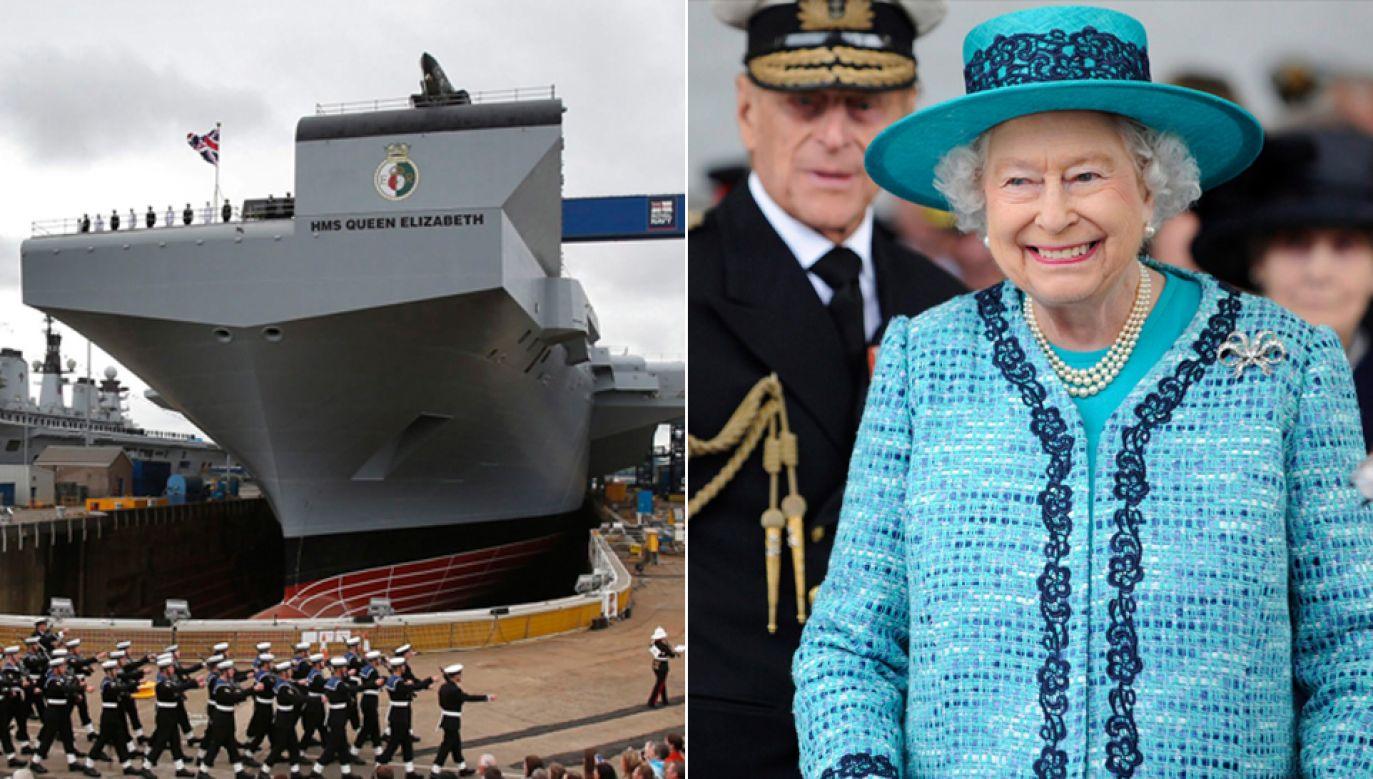 Królowa Elżbieta II ochrzciła lotniskowiec (fot. PAP/EPA/DANNY LAWSON//CROWN)