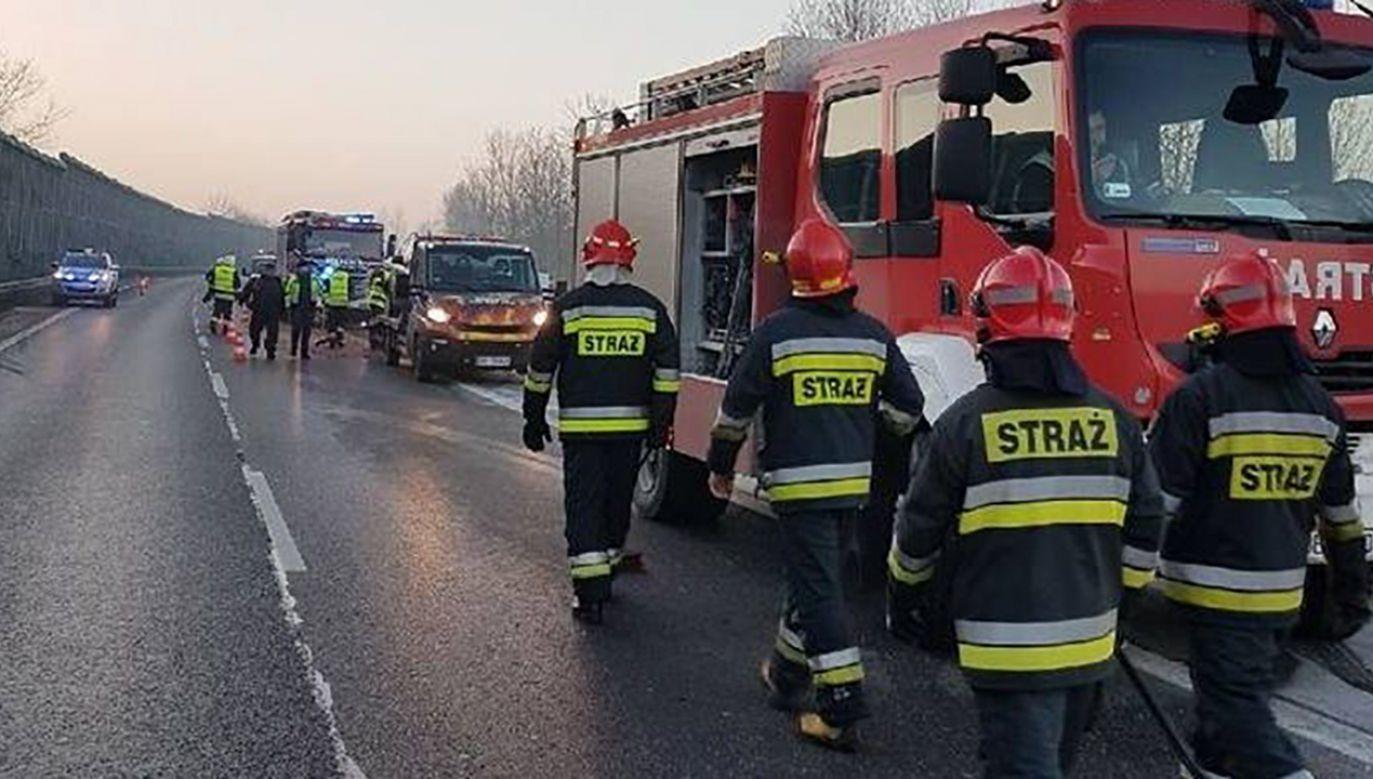 W karambolu udział brało 15 pojazdów (fot. PSP Będzin)